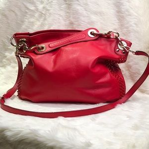 REBECCA MINKOFF Luscious Studded Hobo in Red